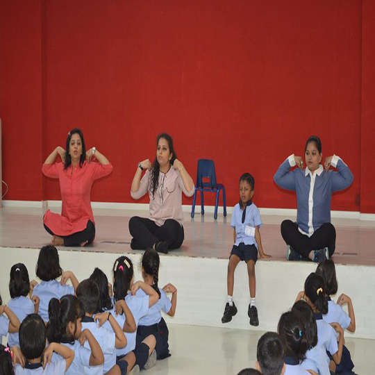 Kindergarten Children Starting Their Day With 'YOGA'